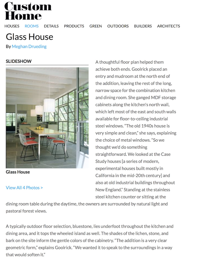 <html>Custom Home<p>Glass House</html>