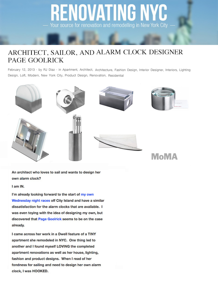 <html>Renovating NYC<p>Architect, Sailor and Alarm Clock Designer</html>
