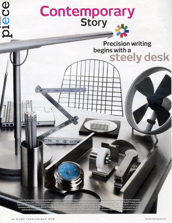 <html>Home Furnishings Now<p>Precision writing begins with a steely desk</html>