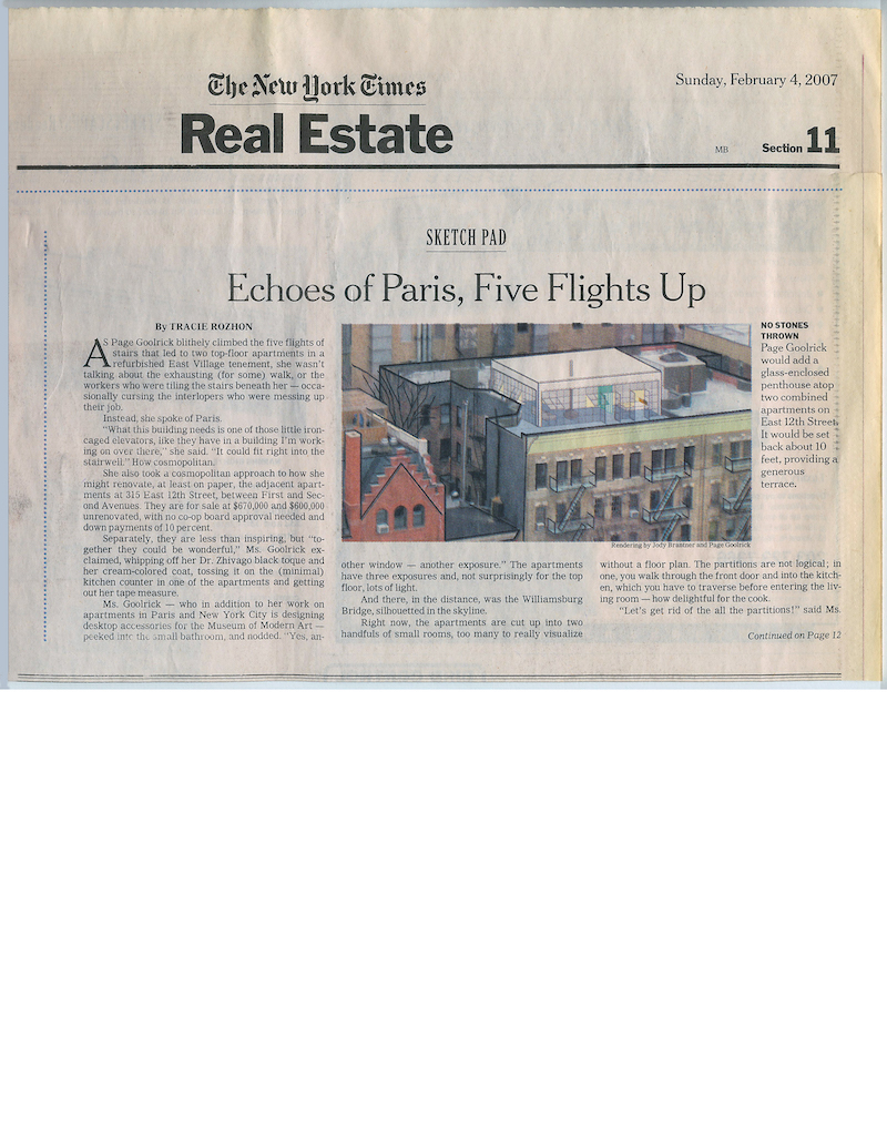 <html>New York Times Real Estate<p>Echoes of Paris, Five Flights Up</html>