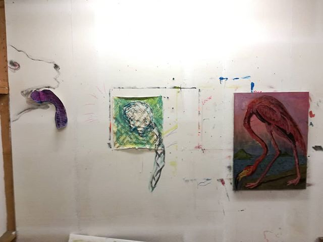 Dog, wig, flamingo  #painting #studiowall #wig #flamingo