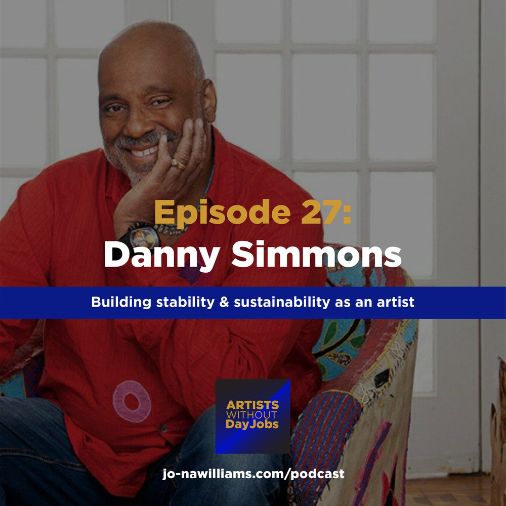 "Today we're talking to one of my absolute favorite artists and good friend, Danny Simmons! He shares how he went from a being a social worker to owning a full-on art empire and how you can too. So many gems in this episode!     Daniel ""Danny"" Simmons, Jr. is an abstract-expressionist painter. Older brother of hip-hop impresario Russell Simmons and rapper Joseph Simmons (""Rev. Run"" of Run DMC), he is the founder and Vice Chairman of the Rush Philanthropic Arts Foundation and Rush Arts Gallery. In addition, Simmons converted part of his loft in Brooklyn into the Corridor Gallery. Along with his brother Russell, Simmons established Def Poetry Jam, which has enjoyed long-running success on HBO. In 2004, Simmons published Three Days As The Crow Flies, a fictional account of the 1980's New York art scene. He has also written a book of artwork and poetry called I Dreamed My People Were Calling But I Couldn't Find My Way Home.    Simmons is the son of Daniel Simmons, Sr., a truant officer and black history professor who also wrote poetry, and Evelyn Simmons, a teacher who painted as a hobby. He earned a degree in social work from New York University and a master's in public finance from Long Island University. He began painting after he realized how much he hated his job with the Bureau of Child Support.    Simmons, an abstract-expressionist painter, has had his work shown nationally. Chase Manhattan Bank, the United Nations, and the Schomburg Center for Black Culture all show his work as part of their collections. He is also an avid collector of African art and comic books.    IF you want to connect with Danny check him out on  Facebook."