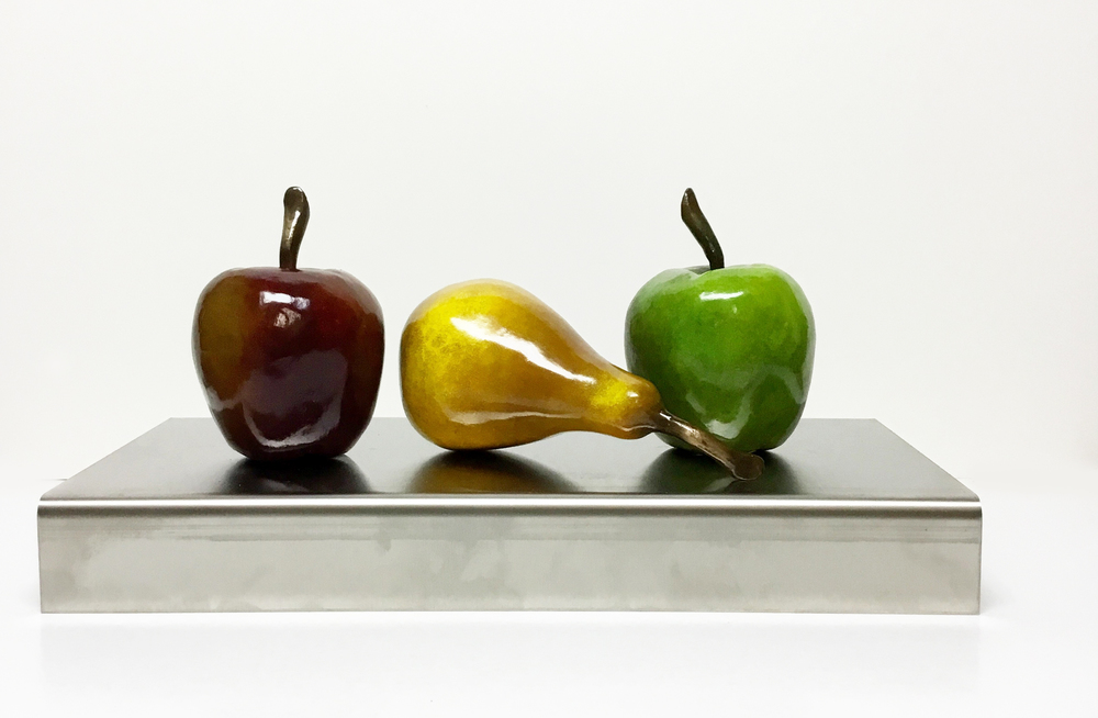 "2 APPLES AND A PEAR ON STAINLESS STEEL BASE 7""X11""X8"""
