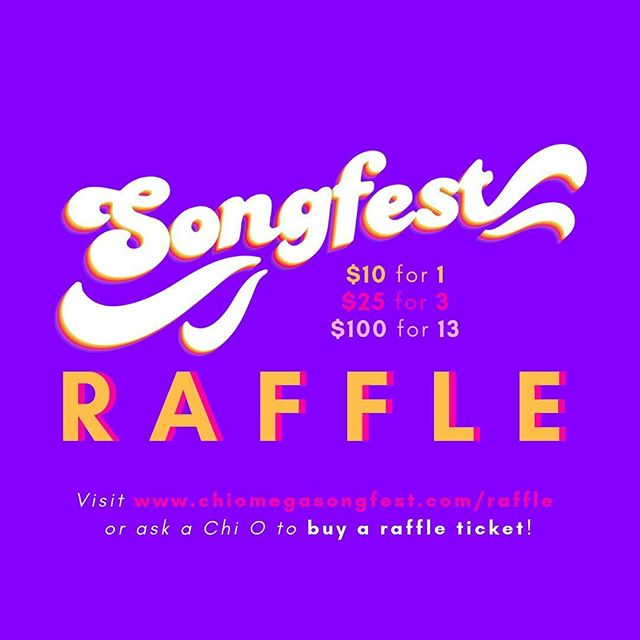 Happy Monday y'all!  The first of many exciting announcements we have this week is the raffle this year!! Swipe left to see the items included in the raffle, and get your ticket online or through a Chi O today!