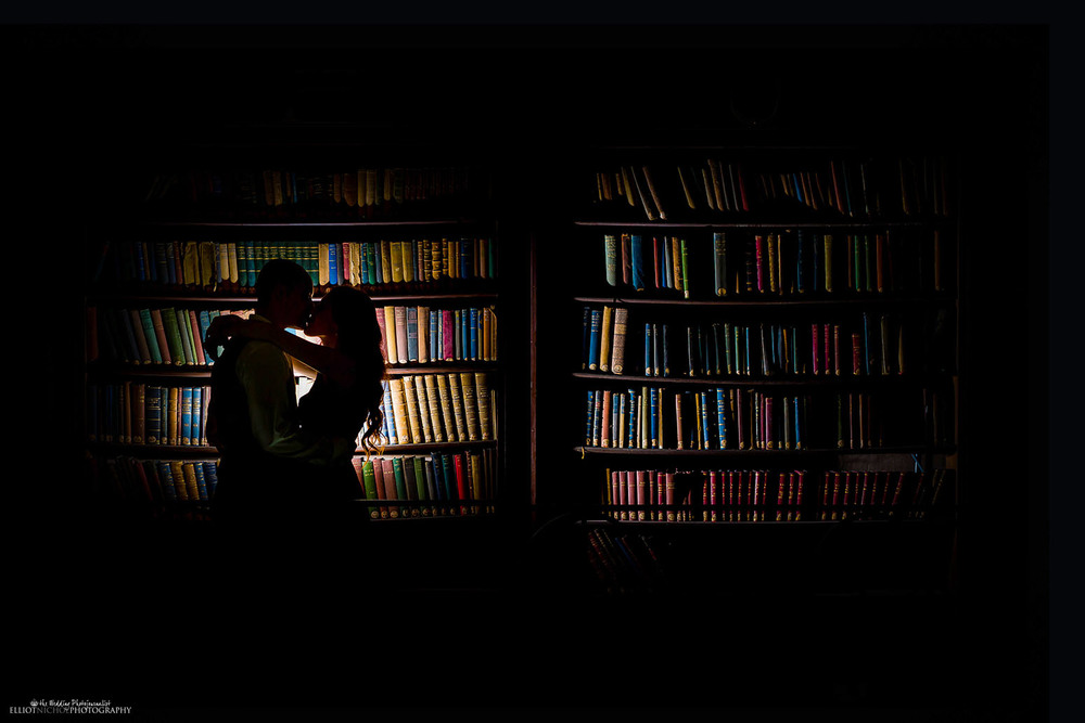 silhouette engagement session portrait library love books