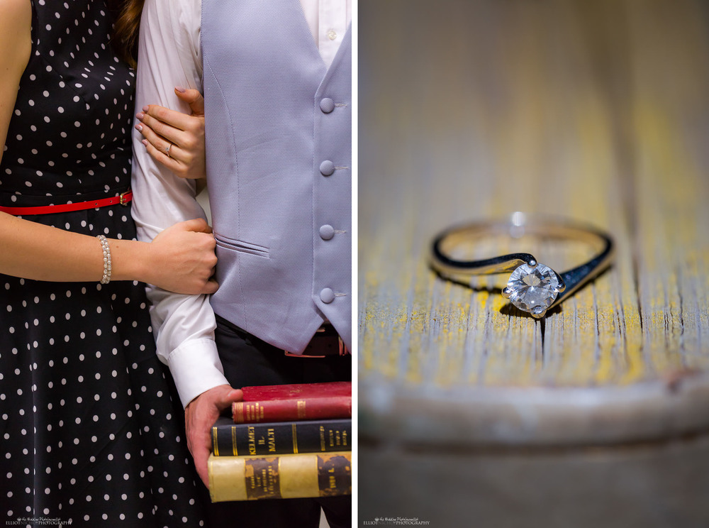 engagement books ring library session photography