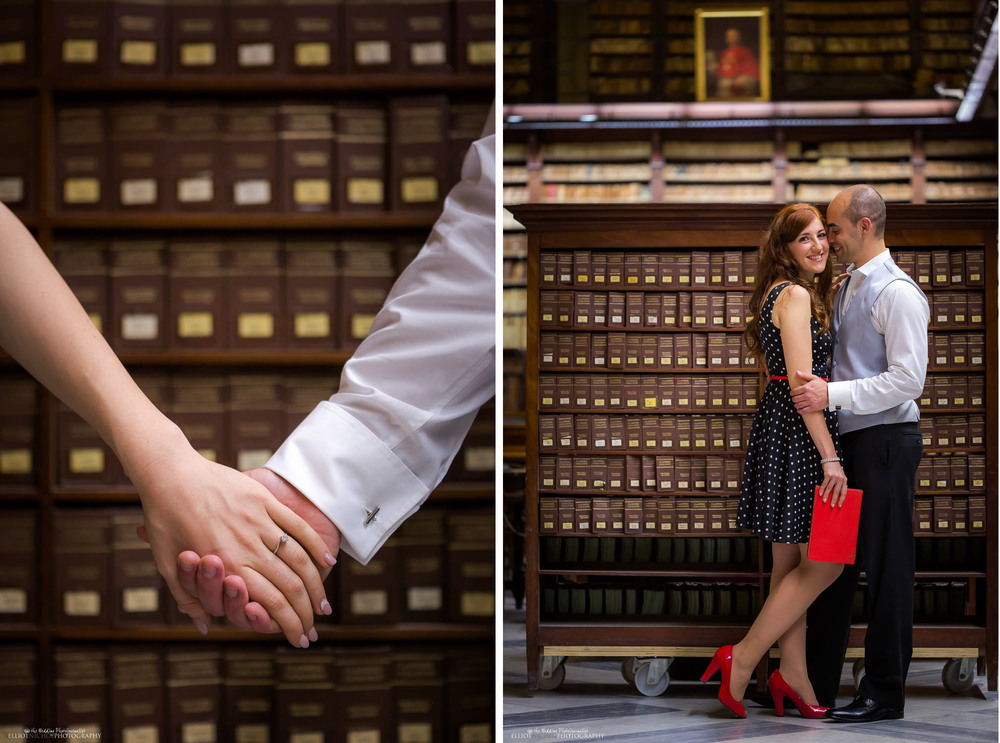 library valletta scene for a engagement shoot for couple maltese