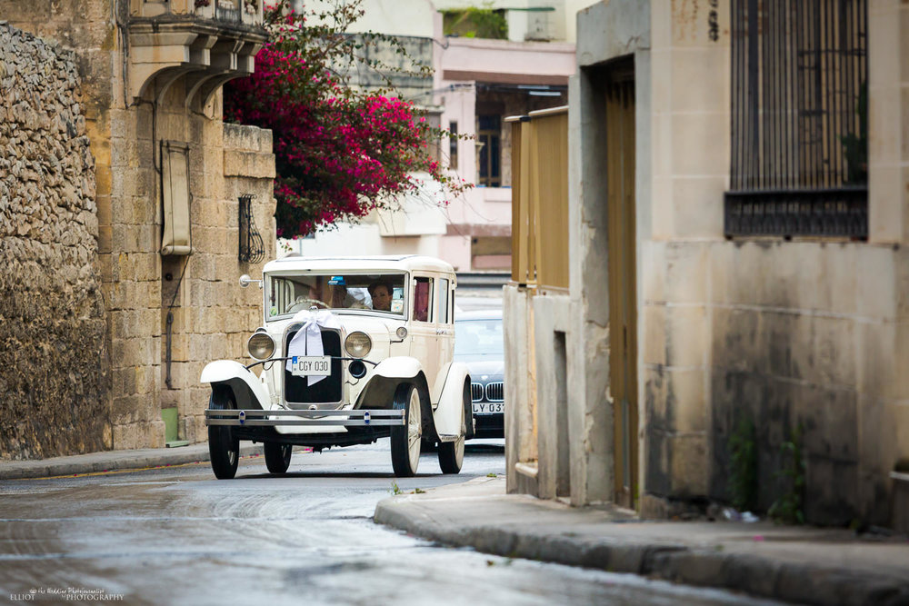 vintage car Malta street wedding