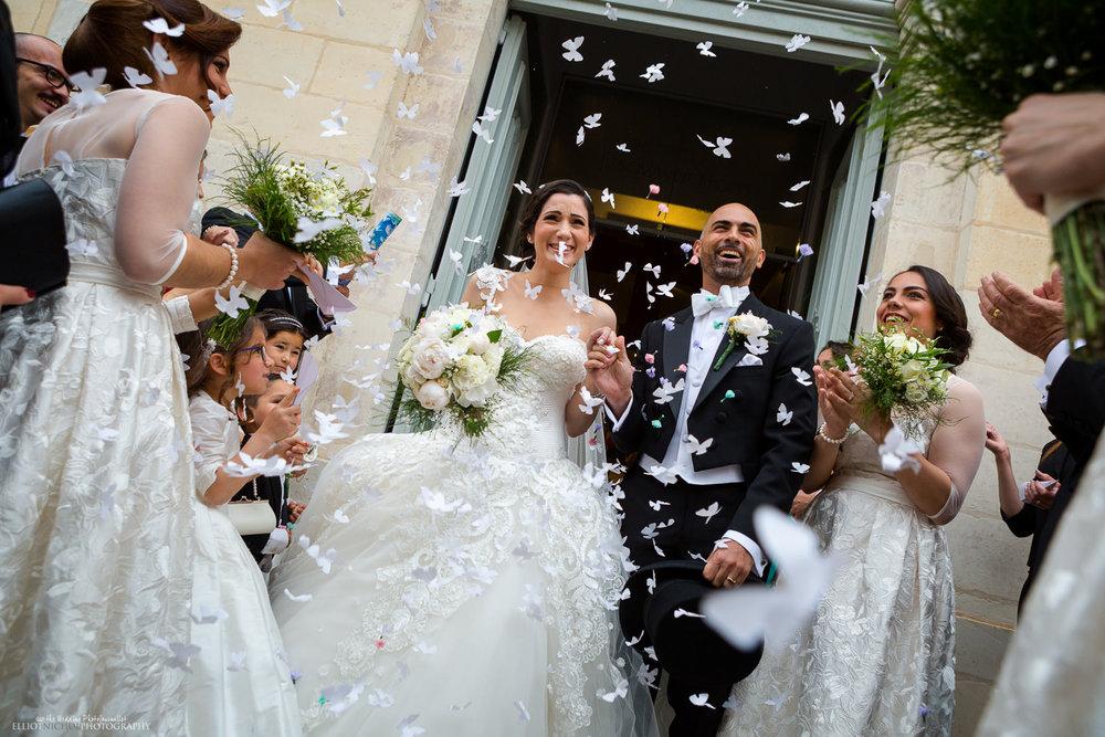 confetti church doorway maltese husband wife