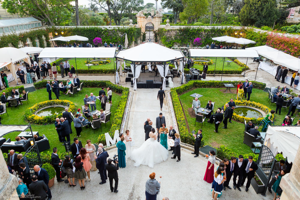 palazzo parisio gardens wedding reception malta