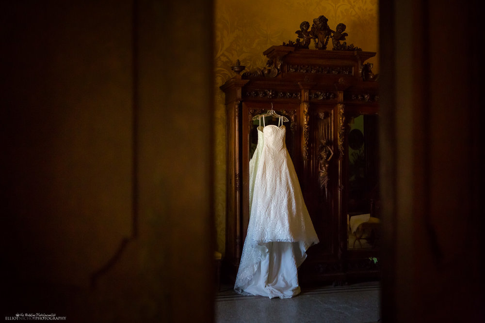 wedding dress hanging in the bridal suite at the Palazzo Parisio, Malta