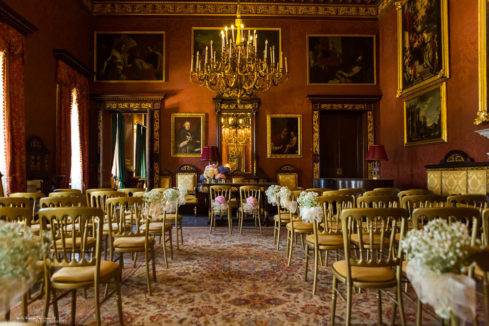 wedding ceremony setup in the Sala Lombarda, Palazzo Parisio, Naxxar, Malta