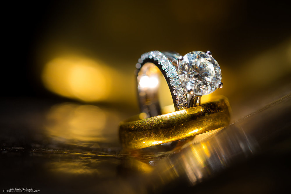 Gold wedding and diamond engagement rings
