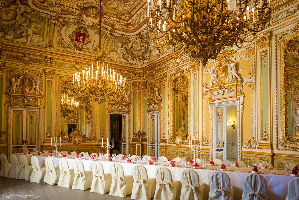 Wedding dinner set up in the golden Ballroom of the Palazzo Parisio, Naxxar, Malta