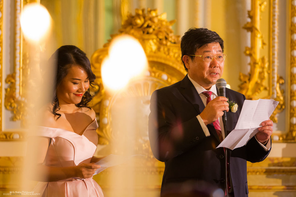 wedding speeches in the grand ballroom at the Palazzo parisio