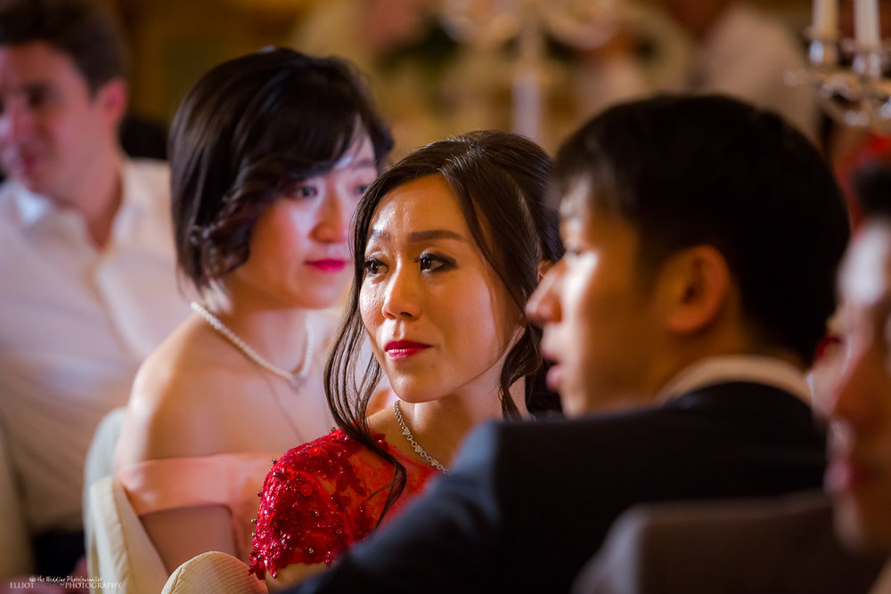 Emotional bride during the wedding reception speeches