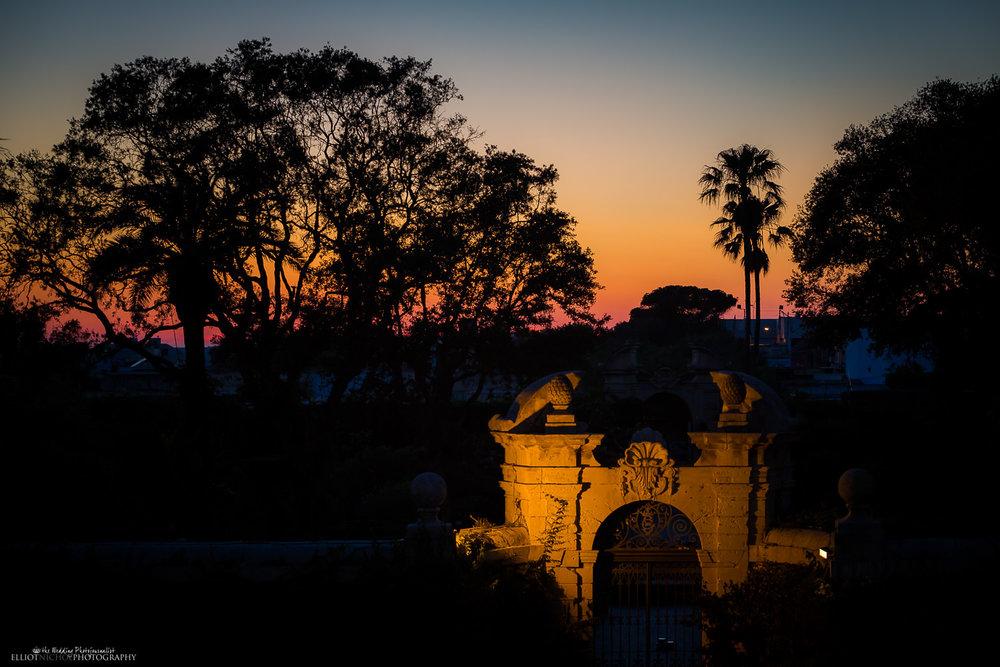 twilight in the gardens of Palazzo Parisio, Naxxar, Malta