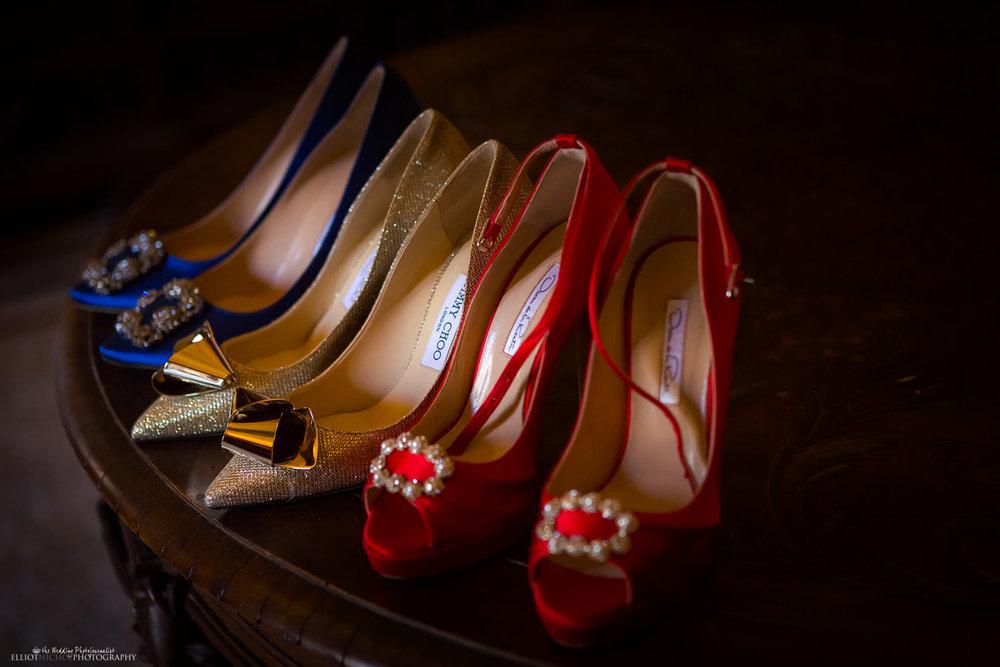 brides three pairs wedding shoes