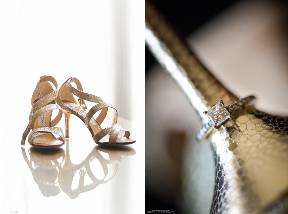 Brides wedding shoes and engagement ring