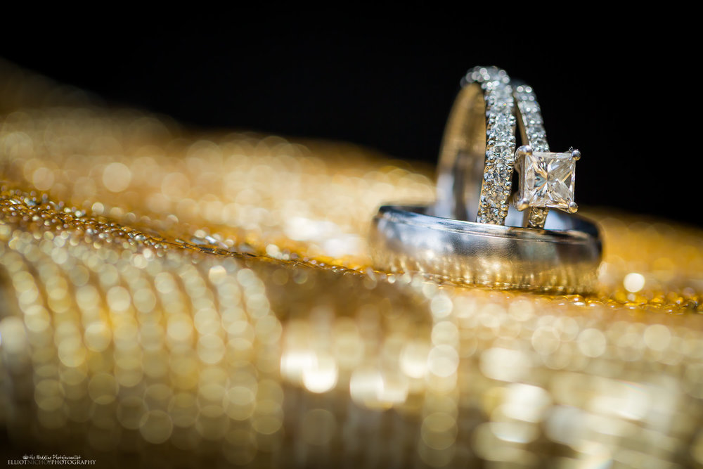 wedding ring and engagement ring detail