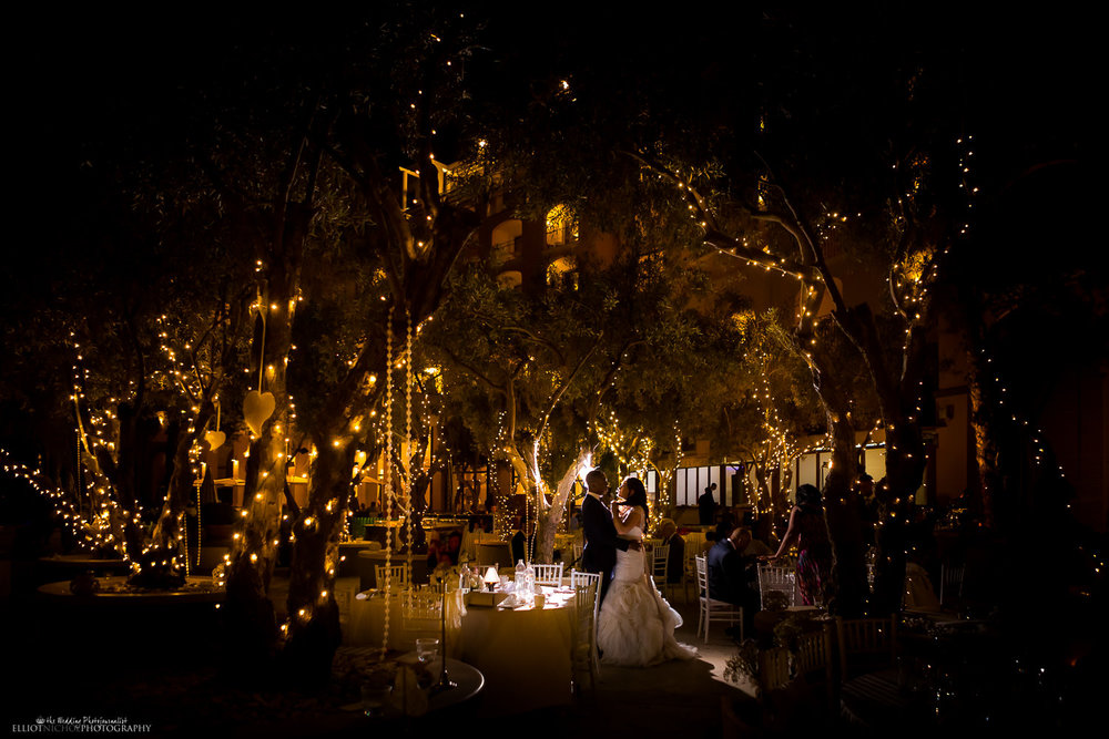 Fairytale wedding venue portrait in the olive grove at the Hilton, St Julian's, Malta