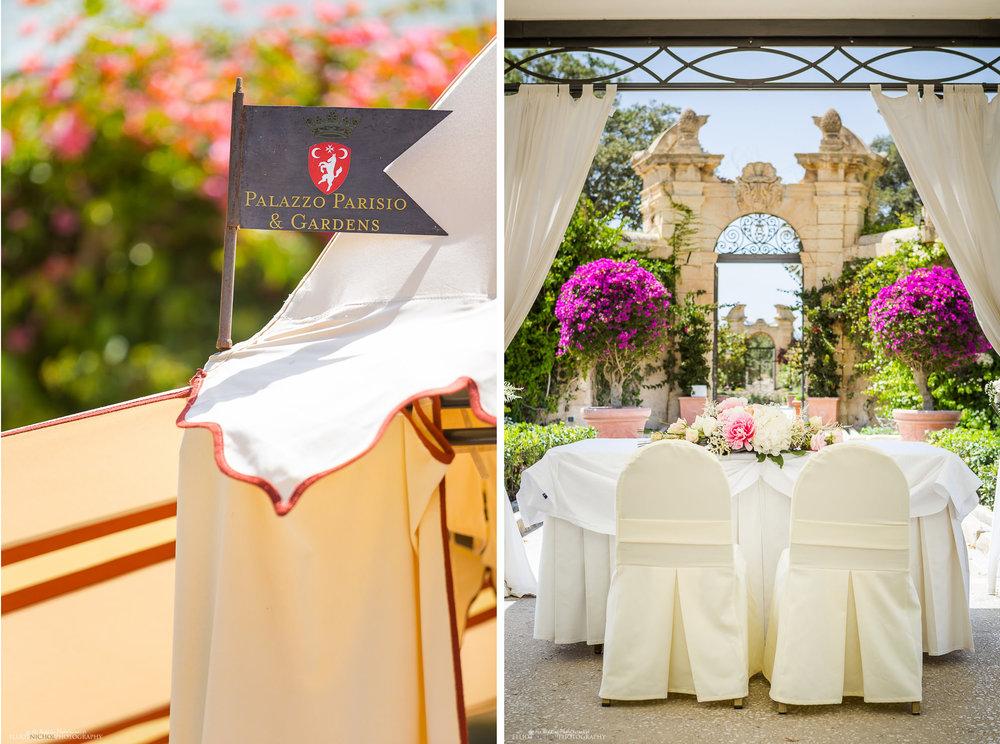 Garden wedding Ceremony setup at the Palazzo Parisio, Naxxar, Malta