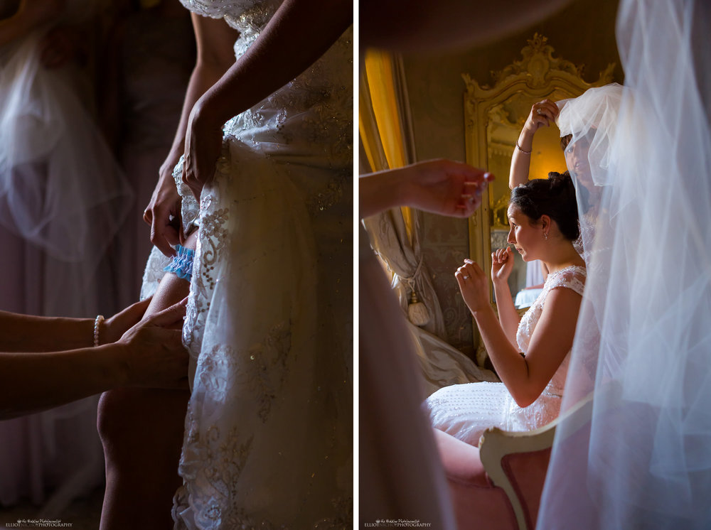 bride getting ready - garter and veil