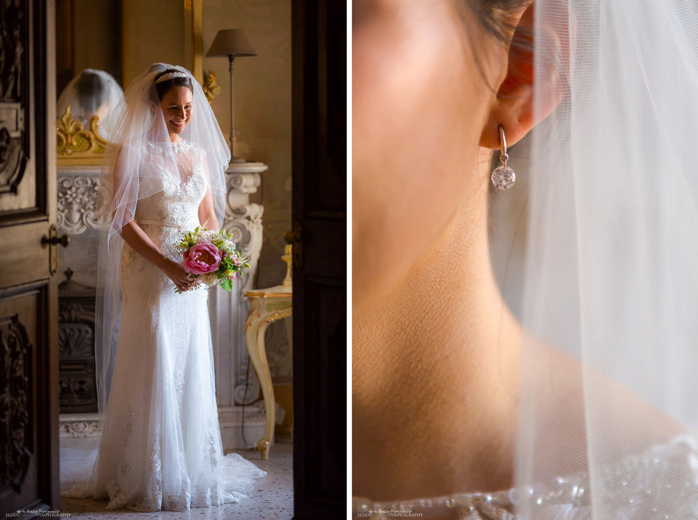 bride holding her bridal bouquet in the bridal suite and detail of her wedding earring.
