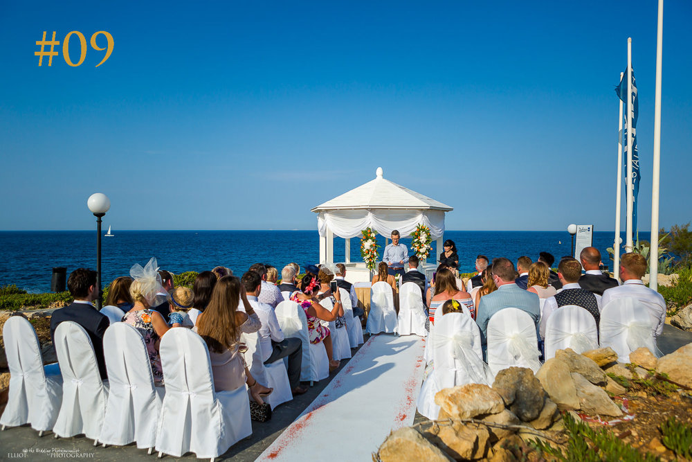 Number nine most popular wedding venue in Malta . Photo of ceremony at The Edge, Radisson Blu Resort, St Julians, Malta.