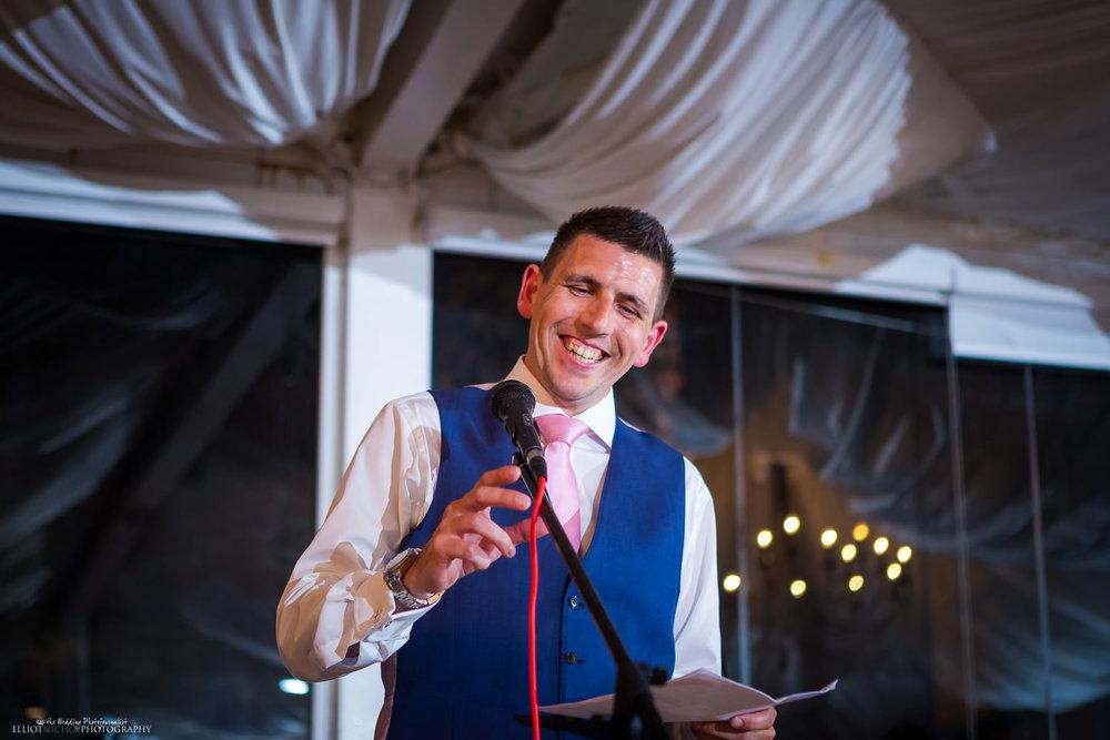 Bestman performs his wedding speech at Villa Arrigo, Naxxar, Malta.
