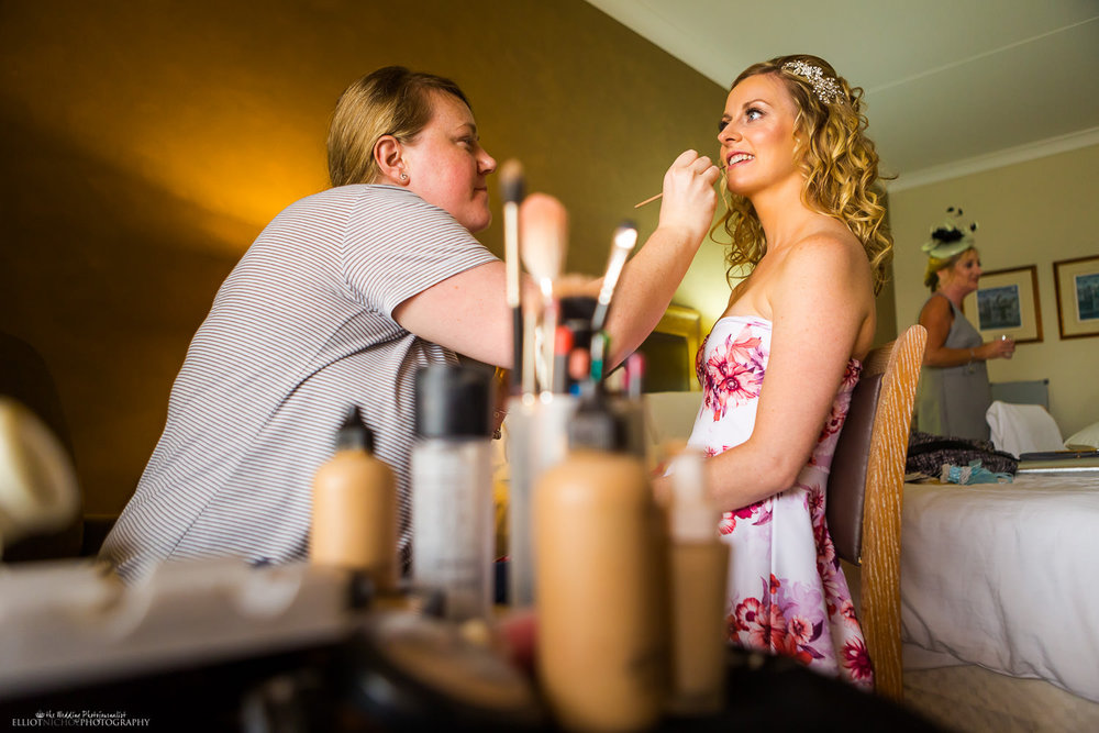 Bride with the makeup artist on the day of her wedding in Malta.