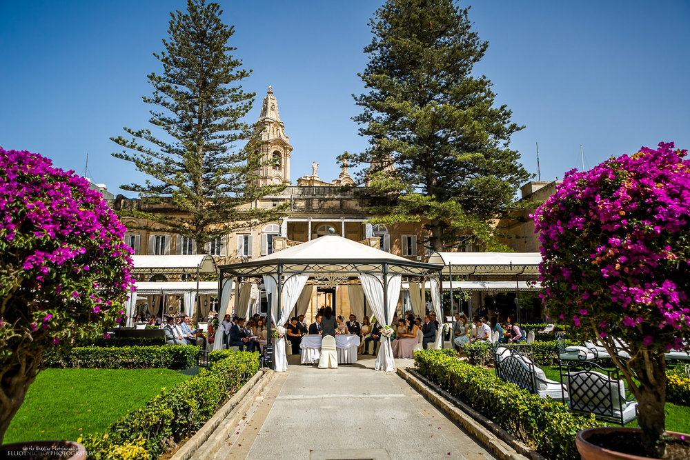 General view of the garden wedding ceremony at the Palazzo Parisio in Naxxar in Malta.