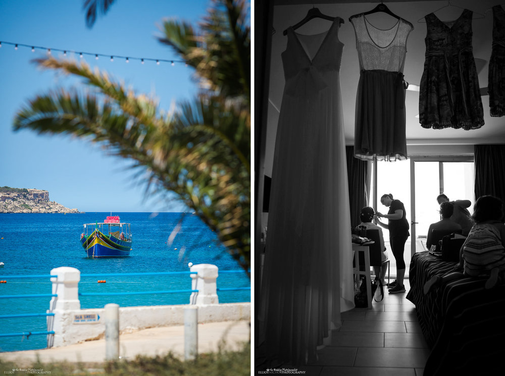 View of a Maltese fishing boat & Bride getting ready in the Seabank, Mellieha, Malta