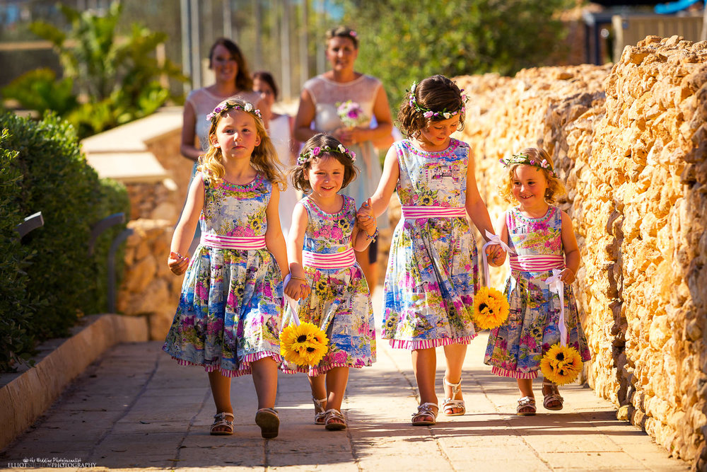 Wedding procession - flower girls at the Seabank