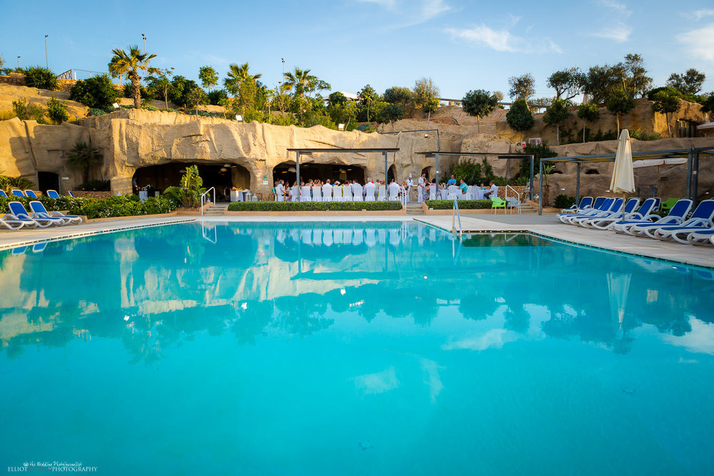 view of the wedding reception at the seabank grotto area, Mellieha, malta