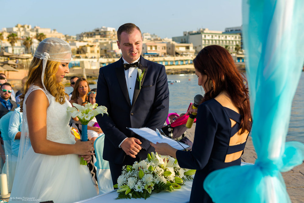 Dolmen wedding ceremony on the Amazonia Lower Deck in Malta