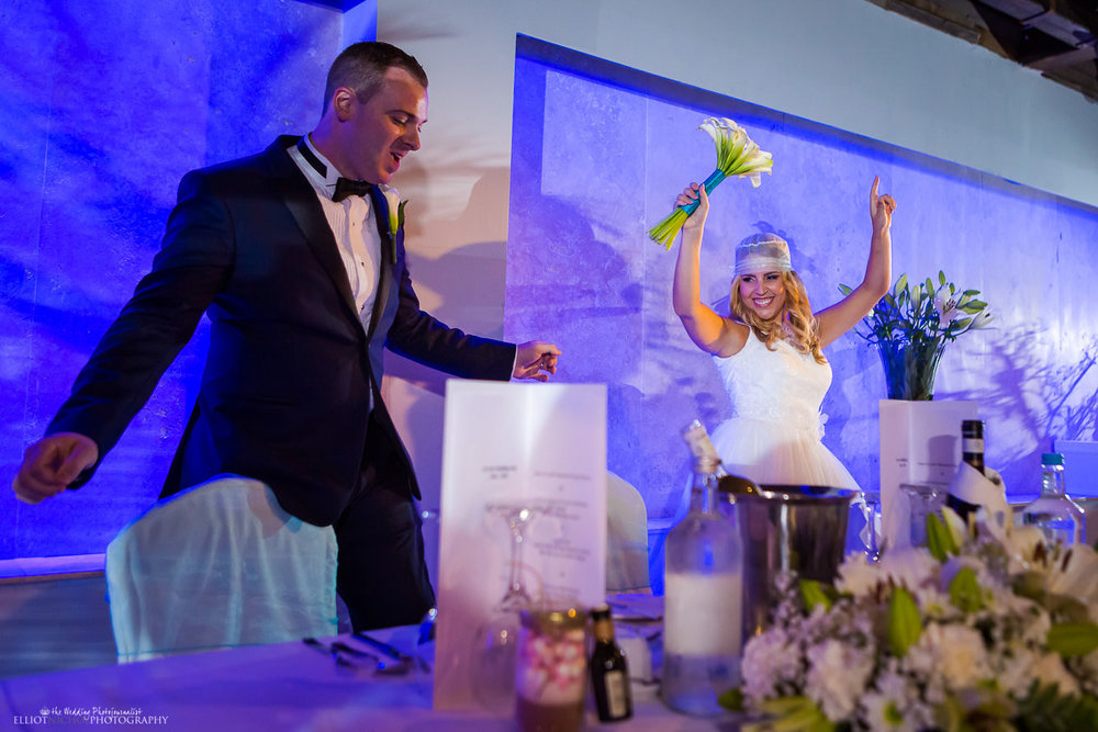 Bride and Groom make their entrance to their wedding reception in the Atlantis Event Certre in the Dolmen, Malta.