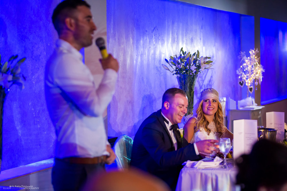 Brides reaction to the wedding reception speeches in the Atlantis event centre, Dolmen