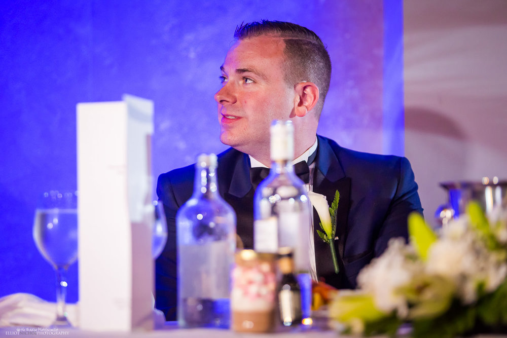 Groom during the bestman speech at the wedding reception at the Dolmen Hotel, Malta.