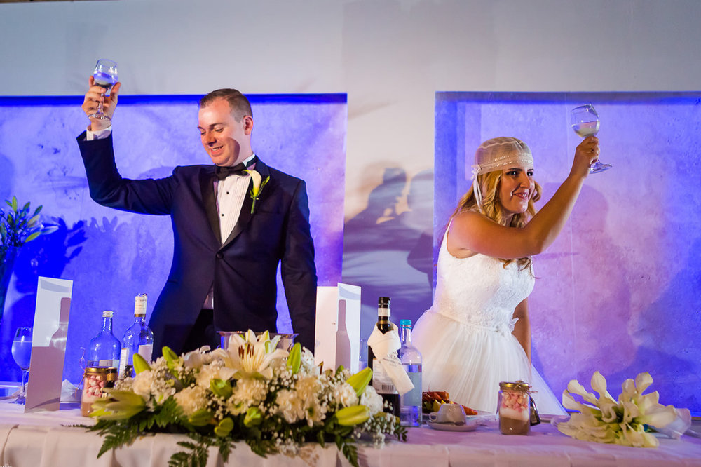 Bride and groom toast their wedding guests for coming to their wedding blessing in Malta.