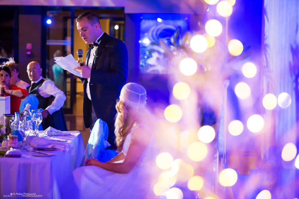 groom's wedding speech during the wedding reception at the Atlantis Event Centre in the Dolmen Hotel, Malta