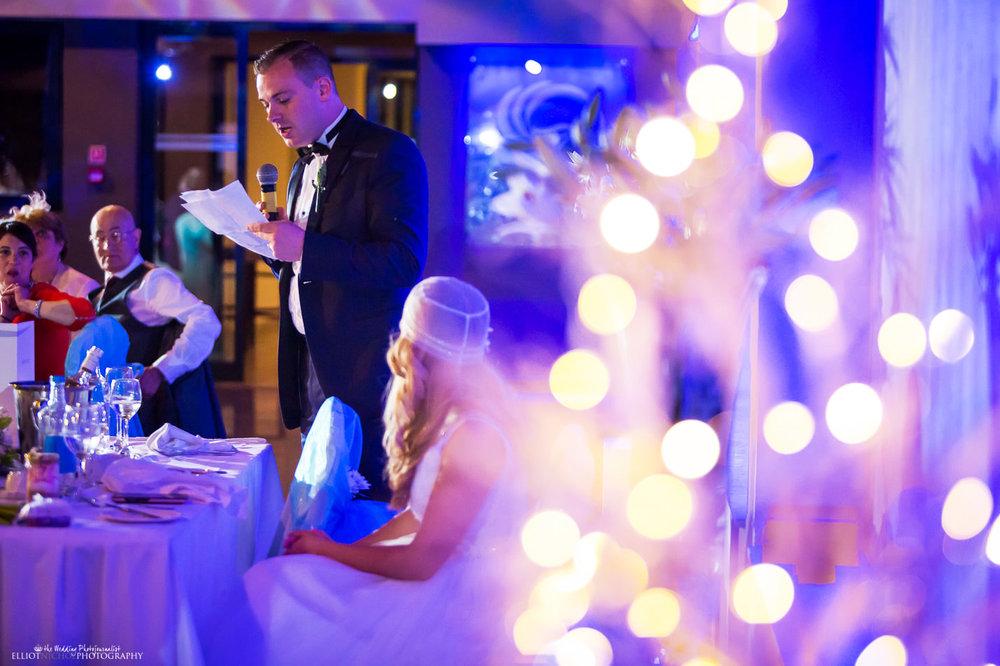 groom's wedding speech during the wedding reception at the Atlantis Event Centre in the Dolmen Hotel, Malta