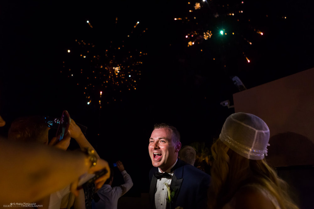 Groom's reaction to surprise fireworks during the wedding reception at the Dolmen Hotel, Malta.