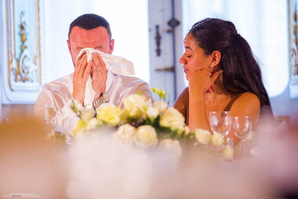 Groom gets emotional during the wedding reception speeches