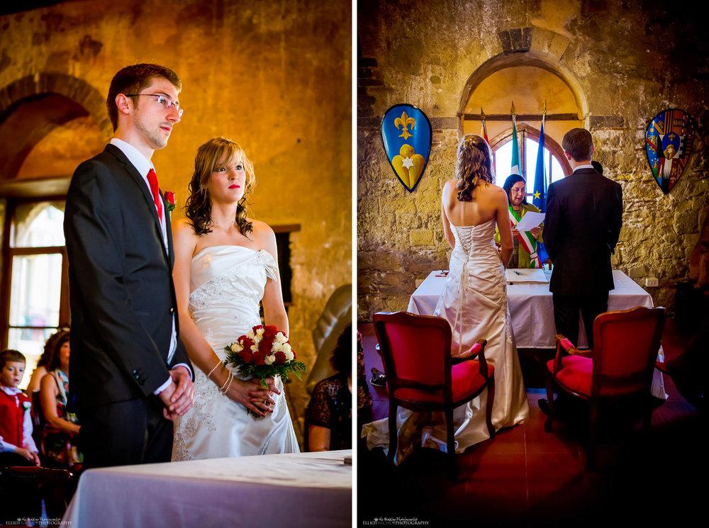 bride and groom with registrar in the Palazzo Duchi di Santo Stefano, Taormina.
