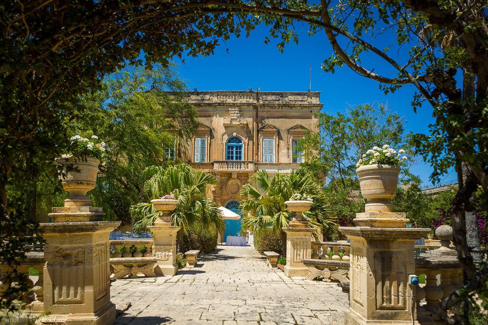 View through the Baroque Garden at Villa Bologna, Attard, Malta.