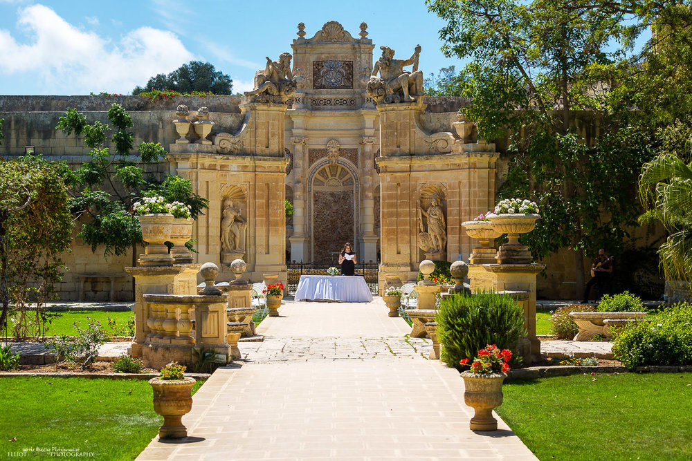 Wedding ceremony set up in the Baroque Gardens in front of the Large Nympheum.