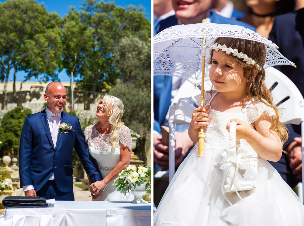 wedding ceremony - bride, groom and flower girl.