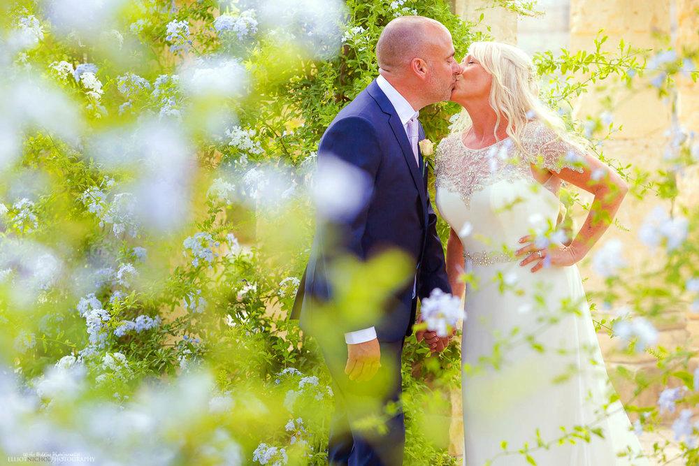 Portrait of the bride and groom in the Villa Bologna's gardens.