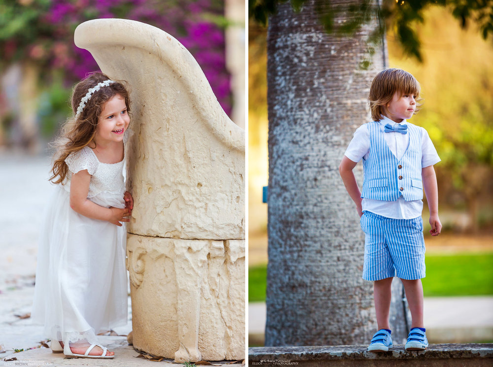 Young wedding guests playing hide-and-seek in the Baroque Gardens of Villa Bologna.